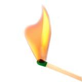 Спичка разрывая к пламени Стоковые Фото