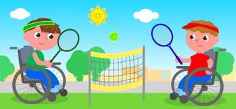Спичка тенниса кресло-коляскы Стоковое Изображение