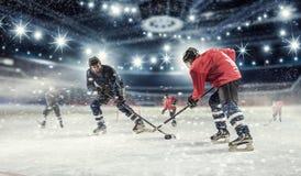 Спичка хоккея на катке Мультимедиа Стоковые Изображения