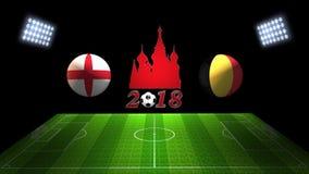 Спичка 2018 чашки футбола мира в России: Англия против Бельгия, внутри иллюстрация штока