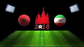 Спичка 2018 чашки футбола мира в России: Марокко против Иран, в 3D иллюстрация вектора