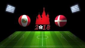 Спичка 2018 чашки футбола мира в России: Перу против Дания, в 3D бесплатная иллюстрация