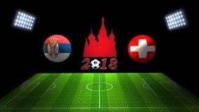 Спичка 2018 чашки футбола мира в России: Сербия против Швейцария, иллюстрация штока