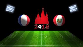 Спичка 2018 чашки футбола мира в России: Франция против Перу, в 3D иллюстрация штока