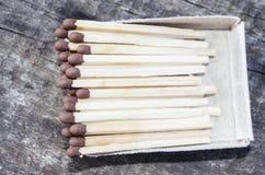 Спички, деревянные спички, упакованы в matchboxes Стоковое Изображение RF
