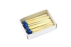 Спички с голубой головой в коробке Стоковые Фотографии RF