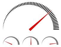 Спидометр или родовые метры, датчики с красной иглой Стоковые Фото