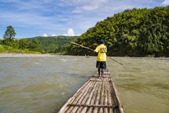 Сплавляющ на бамбуковых сплотках на Рио Гранде, порт Антонио, ямайка стоковые фотографии rf