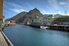 Спокойная деревня Nyksund в летнем времени внутри vesteraalen, северная Норвегия Стоковое фото RF