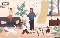 Спокойная мама и капризные озорные дети бежать вокруг ее Мать окруженная детьми пробуя держать невозмутимость бесплатная иллюстрация