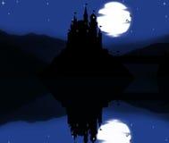 Спокойная ночь в замке с принцессой Стоковая Фотография