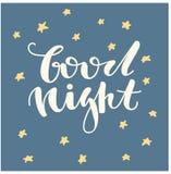 Спокойная ночь Литерность написанная рукой Милой письма нарисованные рукой Стоковое фото RF