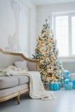 Спокойное изображение внутренней роскошной домашней живущей комнаты украсило рождественскую елку и подарки, софу покрытую с одеял Стоковая Фотография