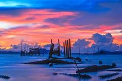 Спокойное море захода солнца Стоковое Фото