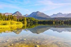 Спокойное озеро, фантастические горы и небо Стоковое Фото