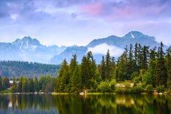 Спокойное озеро, фантастические горы и небо Стоковые Изображения
