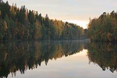 Спокойное отражение озера леса осени Стоковое Фото