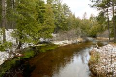 Спокойное река в ландшафте зимы Стоковое Изображение