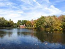 Спокойный взгляд бондарей пруда, Bergenfield, Нью-Джерси стоковое фото rf
