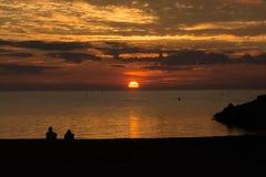 Спокойный заход солнца на Lake Huron Стоковое Изображение RF