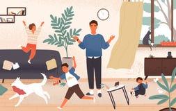 Спокойный папа и капризные непослушные дети бежать вокруг его Отец окруженный попытками детей для того чтобы держать невозмутимос бесплатная иллюстрация