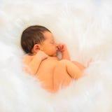 Спокойный newborn сон младенца Стоковая Фотография