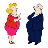 спорить пары Женщина и человек также вектор иллюстрации притяжки corel Стоковые Изображения