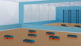 Спортзал для фитнеса, с шаг-платформами на поле и зеркалами на стене Предпосылка вектора Стоковая Фотография