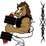 Спортзал тренировки веса фитнеса шаржа лошади мышцы Стоковая Фотография RF