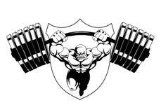 Спортзал фитнеса логотипа культуриста Стоковые Фотографии RF
