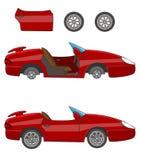 Спортивная машина красного цвета шаржа иллюстрация штока