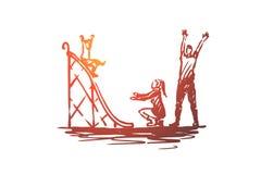 Спортивная площадка, детство, семья, дети, концепция игры Вектор нарисованный рукой изолированный бесплатная иллюстрация