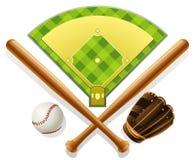 спортивная площадка инвентаря бейсбола Стоковые Изображения RF
