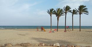 Спортивная площадка на пляже стоковое фото