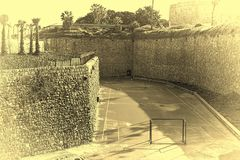 Спортивная площадка спорта на стенах Akko в Израиле Стоковая Фотография