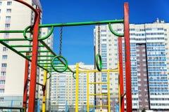 Спортивная площадка ` s детей в городе Стоковое фото RF