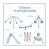 Спортивная площадка ` s детей в линии искусстве бесплатная иллюстрация