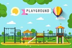 Спортивная площадка ` s детей на парке города Стоковая Фотография