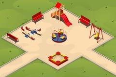 Спортивная площадка ` s детей с sandpit, качания, carousels и холм, иллюстрация в равновеликом Стоковые Изображения