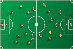 Спортивная площадка взгляд сверху футбола с игроками Стоковая Фотография RF