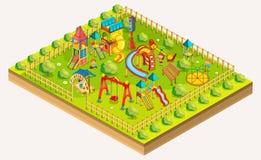 Спортивная площадка детей равновеликая Зона отдыха вектор иллюстрация вектора