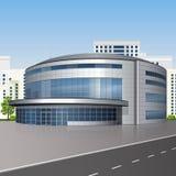 Спортивная площадка здания с отражением иллюстрация вектора