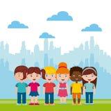 Спортивная площадка красивых детей с играть детей иллюстрация штока