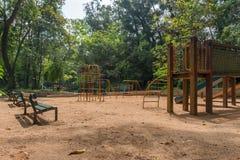 Спортивная площадка на парке Aclimacao в Сан-Паулу стоковые фотографии rf