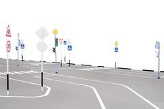 Спортивная площадка с дорожными знаками Стоковые Изображения