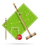 Спортивная площадка для иллюстрации вектора крокета Стоковые Изображения RF