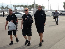 Спортивные команды приходят к олимпийскому парку РУССКИЙ 2014 ФОРМУЛЫ 1 Сочи Autodrom GRAND PRIX Стоковое Фото