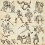 Спортивные соревнования, смешивание спорта - собрание нарисованное рукой на старом пюре иллюстрация штока