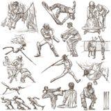 Спортивные соревнования, смешивание спорта - собрание нарисованное рукой на белизне иллюстрация штока