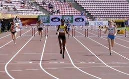 Спортсмены бежать барьеры 400 метров в чемпионате мира U20 IAAF в Тампере, Финляндии 11-ое июля 2018 стоковая фотография